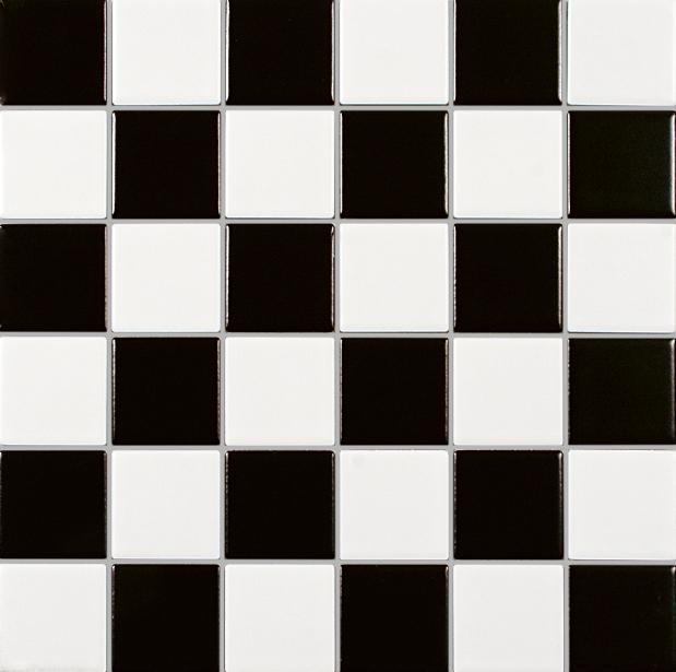 MOSAIK MT SVART-VIT MATT 4,8x4,8