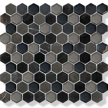 MOSAIK HEXAGON BLACK MIX 3,4X3,4X8