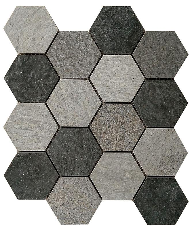 MOSAIK ROCKS HEXA DARK MIX 8,2x7,3