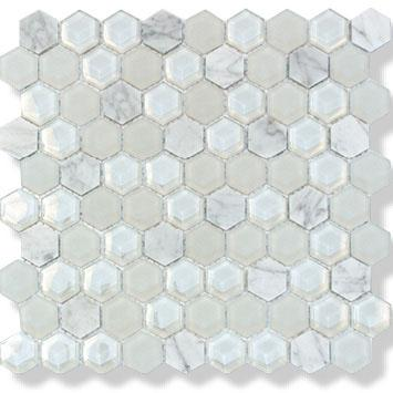 MOSAIK HEXAGON WHITE MIX 3,4X3,4X8